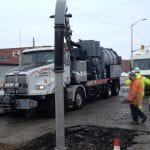 Vacuum Truck Hydro Excavating street and sewer