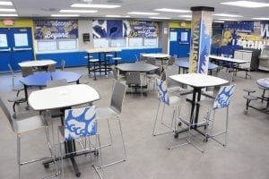 Cafeteria Tables and stools in school