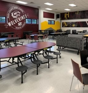Cafeteria Tables attached stools in school