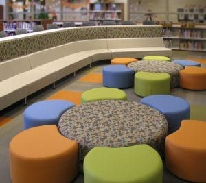 K-12 Education library booths and chairs