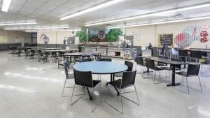 Cafeteria Tables and chairs with attached stools in school
