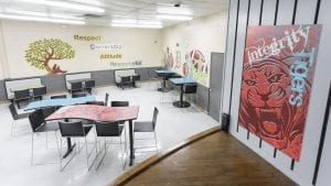 Cafeteria Tables and chairs in school
