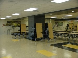 Cafeteria folding Tables attached stools in school